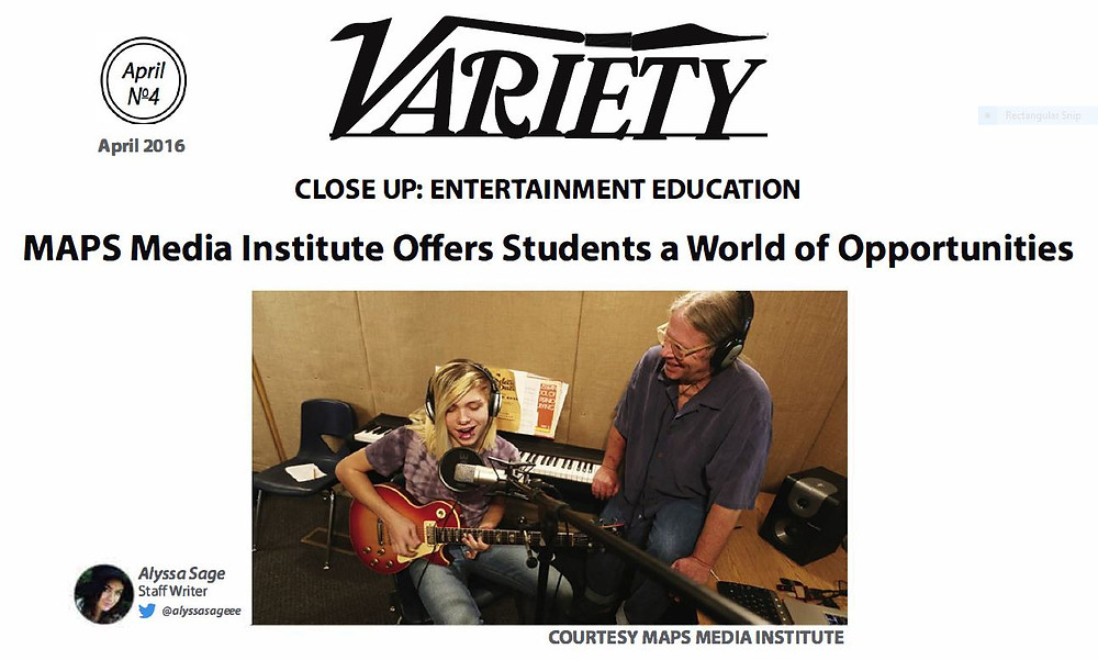 Variety Magazine Exerpt - Peter Rosten is pictured with a student recording music