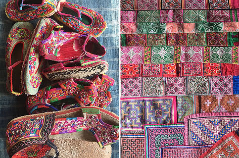 Handmade shoes and Hmong applique.jpg