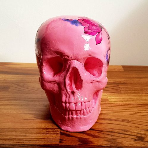 Large pink floral skull whereartthou large handmade and painted skull ornament carefully decorated with a pink and purple watercolour flower design and finished with a protective coating of mightylinksfo