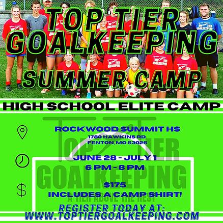 Top Tier Goalkeeping Summer Camp Flyer (