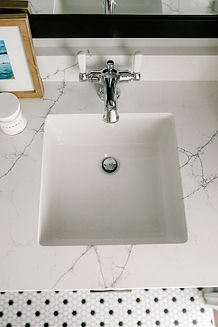Lisa Clark Design Winnipeg Manitoba Navy Vanity Bathroom Kohler Hexagon Floor
