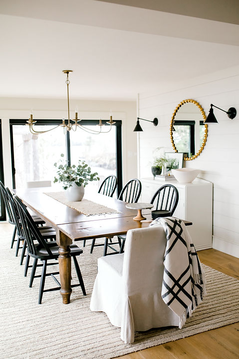 Lisa Clark Design, Cottage, Dining Room, Lucca Chandelier, Pottery Barn, Black Windows, Farmhouse Table, Upholstered dining chair, Black windsor chair, brass chandelier