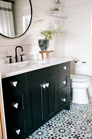 Lisa Clark Design, Bathroom, Cement Tile Floor, Green, Black Vanity, Shiplap, Round Mirror