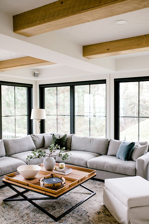 Lisa Clark Design, Cottage, Living Room, Family Room, Beams, Herringbone Ceiling, Black Windows, Sectional, Grey Sectional, Persian Rug