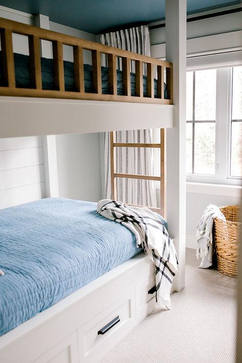 Lisa Clark Design Blue Ceiling Benjamin Moore Shiplap Bunkbeds Built-in Bunkbeds