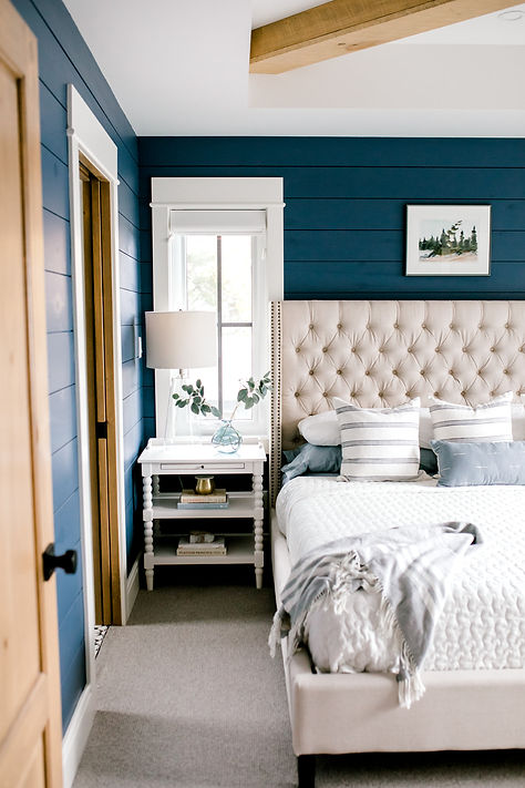 Lisa Clark Design Shiplap Blue Shiplap Benjamin Moore Upholstered Bed X Beams Tray Ceiling Bedroom Master Bedroom