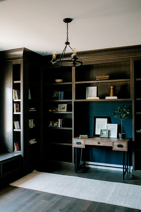 Lisa Clark Design Winnipeg Manitoba Library Navy Blue Built-ins