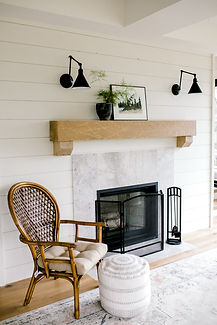 Lisa Clark Design Fireplace Cottage Shiplap Wood Mantle Black Sconces Natural Stone