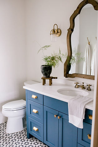 Lisa Clark Design, Cement Tile Floor, Blue Vanity, Benjamin Moore Van Deusen Blue, Brass Sconces, Brass Faucet, Bathroom