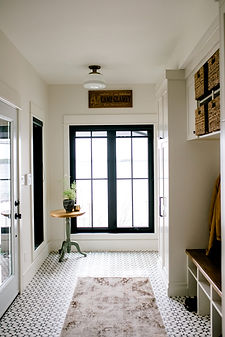 Lisa Clark Design, Cottage, Mudroom, Cement Tile, Black and White, Black Windows, Cubbies, shiplap