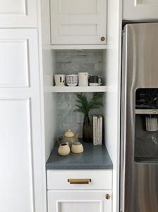 Lisa Clark Design Interior Design Steinbach Winnipeg Manitoba White kitchen black island brass hardware classic marble oriental runner coffee bar