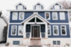 Lisa Clark Design Winnipeg Manitoba Interior Design exterior blue two storey house james hardie