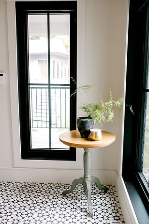 Lisa Clark Design, Cottage, Hallway, Green Cabinets, Open Shelves, Beams, Cement Tile, Black Windows, Mudroom
