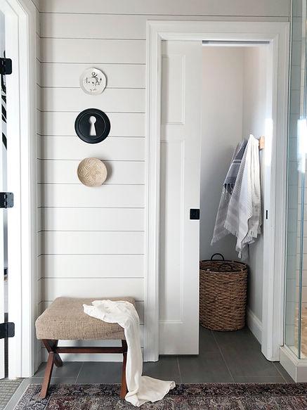 Lisa Clark Design Interior Design Steinbach shiplap oriental rug bathroom Winnipeg Manitoba