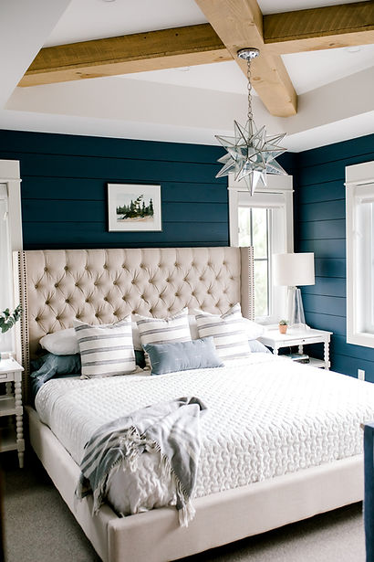 Lisa Clark Design Shiplap Blue Shiplap Benjamin Moore Upholstered Bed X Beams Tray Ceiling