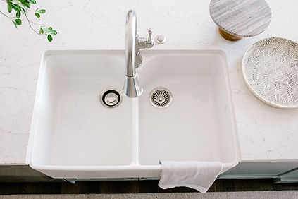 Lisa Clark Design Grey Kitchen Classic Design Pewter Faucet  Farmhouse Sink