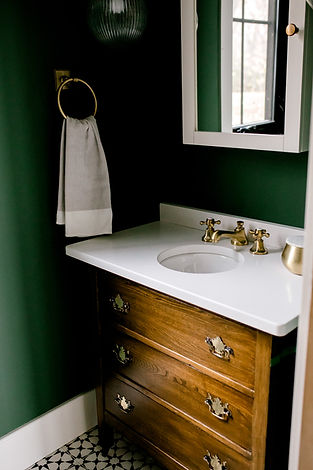 Lisa Clark Design Green Walls Benjamin Moore Reclaimed Dresser Brass faucet Brass Sconces Medicine Cabinet