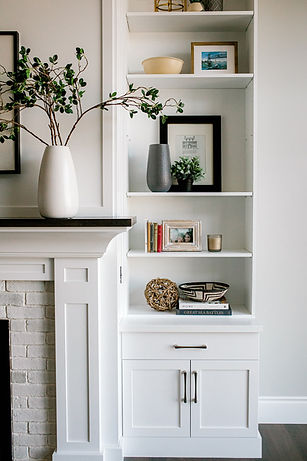 Lisa Clark Design Winnipeg Manitoba Fireplace Built-ins White Brick