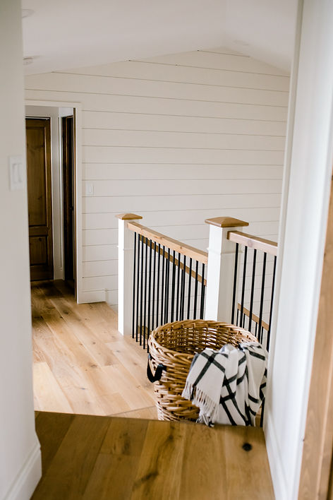 Lisa Clark Design, Hallway, Shiplap Benjamin Moore Soft Chamois, Wood Doors