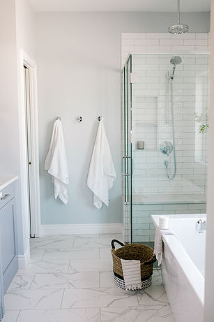 Lisa Clark Design Soaker Tub Tiled Shower Marble Subway Tile Polished Nickel Kohler