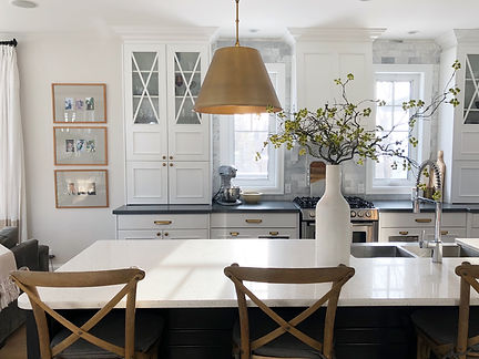 Lisa Clark Design Interior Design Steinbach Winnipeg Manitoba White kitchen black island brass hardware classic marble