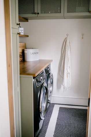 Lisa Clark Design, Penny Tile Floor, Black and White, Green Cabinets, Laundry Room, Cottage