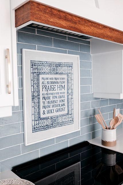 Lisa Clark Design Winnipeg Manitoba Interior Design white kitchen blue island oriental rug blue backsplash gold hardware