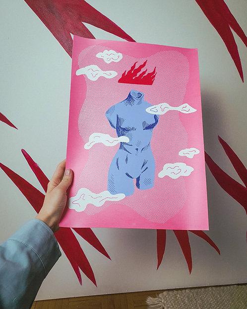 Silkscreen print 'The Floating Lady'