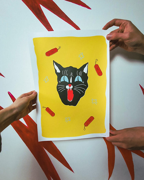 Silkscreen print 'The Angry Cat'