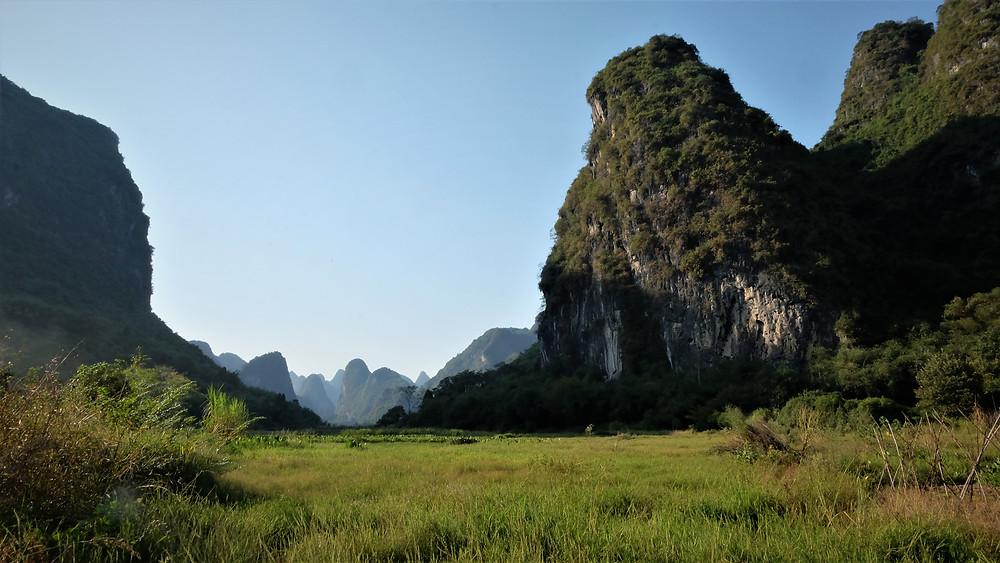 La falaise, surplombant les rizières.