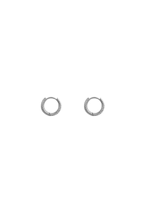 MINI TEXTURED HOOPS SILVER