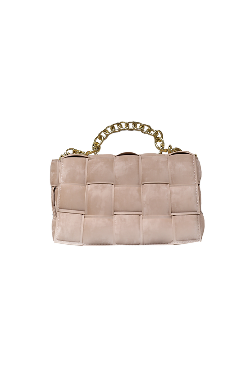 SQUARE BAG  SUEDE CHAIN BROWN