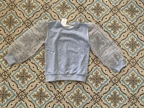 Trendy sweater met wijdere mouwen grijs