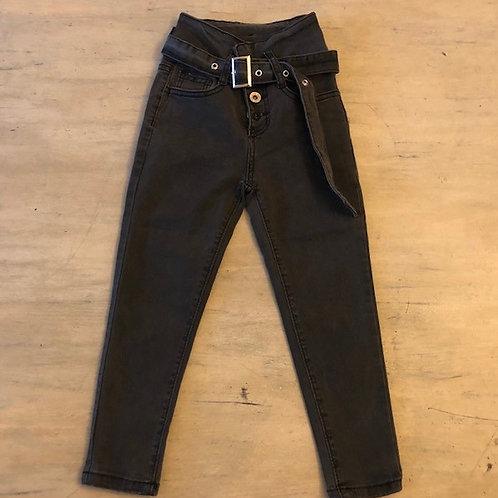 Smalle grijze jeans met hoge taille