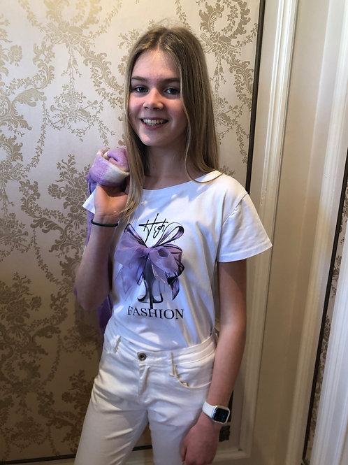 T-shirt strik met Lila