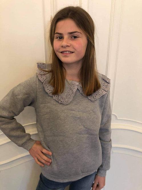 Leuke sweater met kraagje grijs