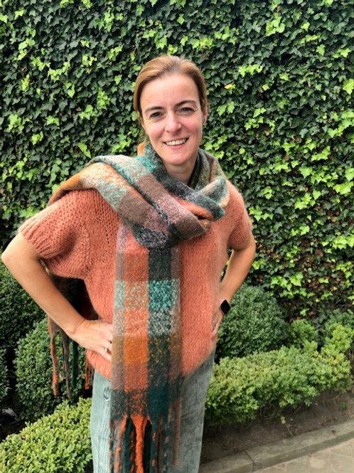 Sjaal geruit groen-oranje