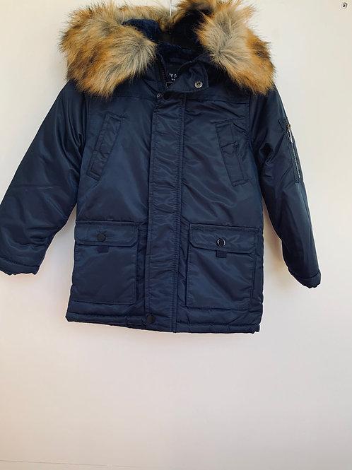 Warme jas donkerblauw met pels