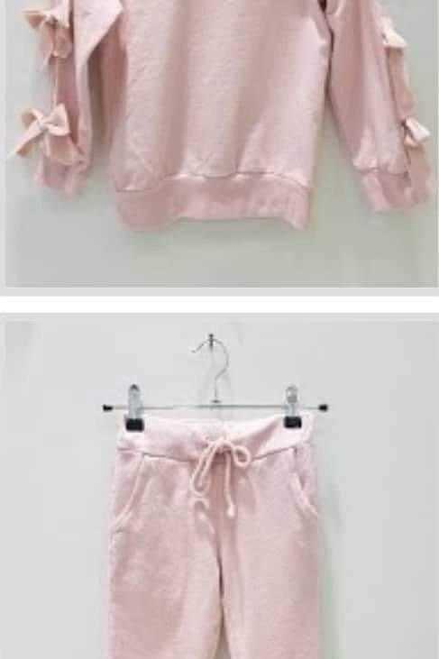 Homewear met strikjes roze