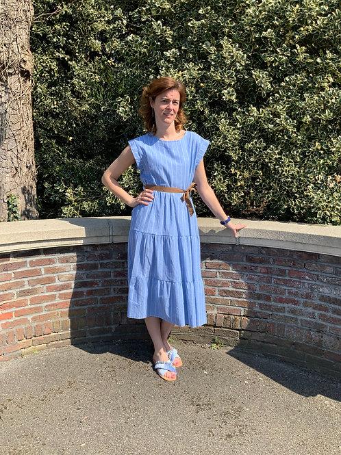 Romantisch kleedje gestreept blauw