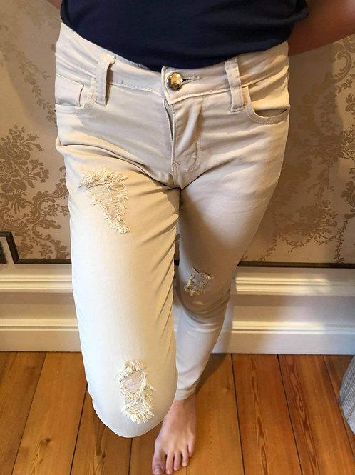 Stoere smalle broek beige