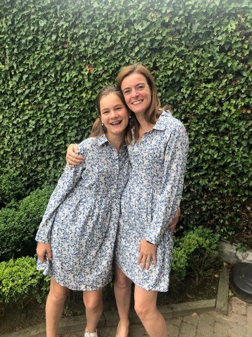 Mama/dochter kleed blauw