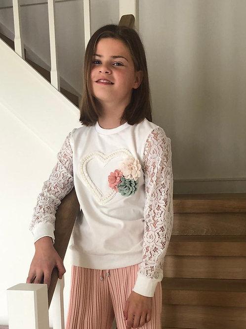 Sweater Trendy met mouwen in kant