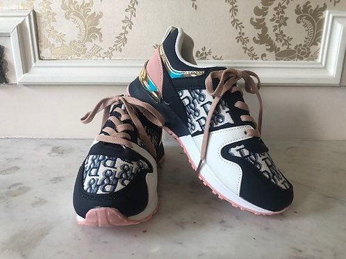 Comfortabele sneakers donkerblauw/roze