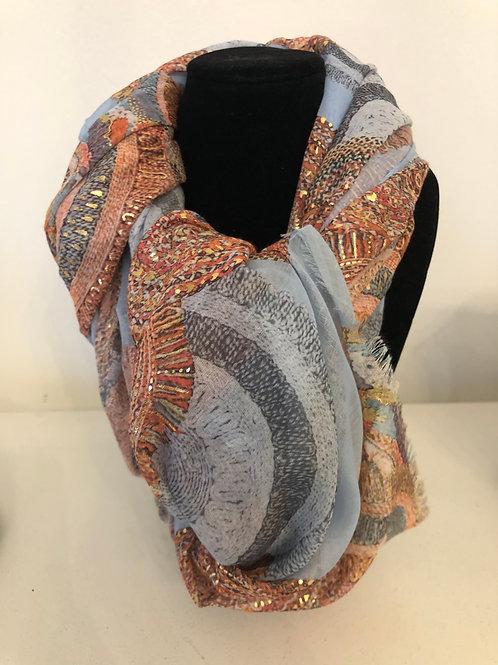 Sjaal met design blauw