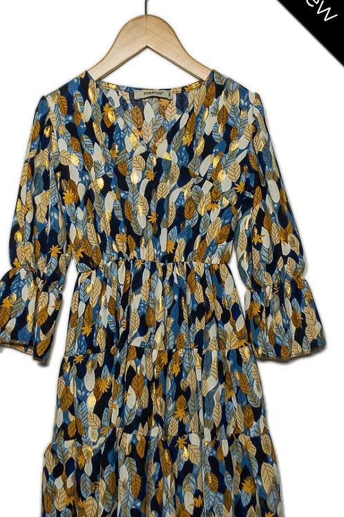 Kleed Trendy blauw met goudkleurige blaadjes