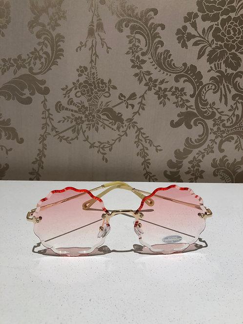 Ronde zonnebril roze