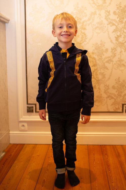 Sweater Sarabanda d.blauw met rugzak