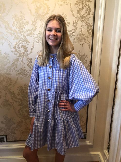 Oversized geruit kleedje blauw
