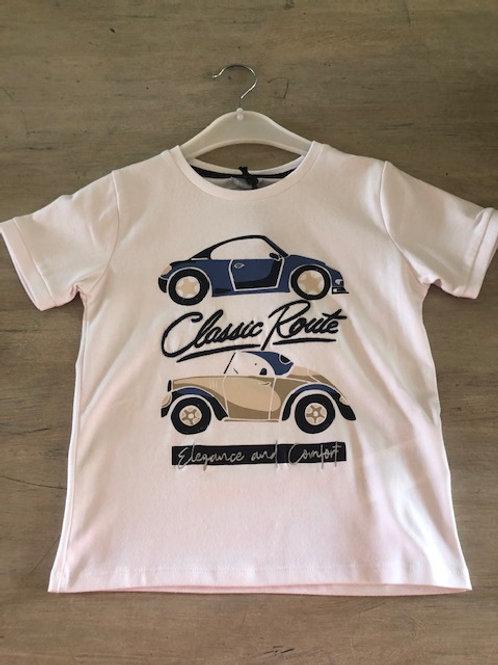 T-shirt Sarabanda met auto's wit